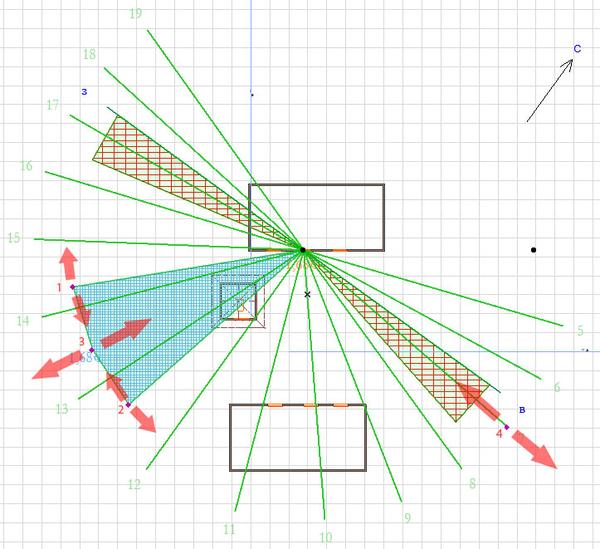 Вид линейки LabPP_Insolation в 2D-окне ARCHICAD