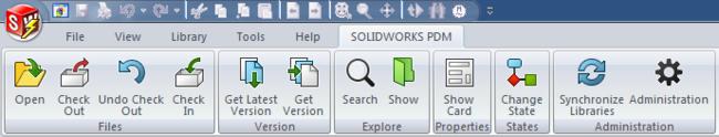 Меню SOLIDWORKS PDM в SOLIDWORKS
