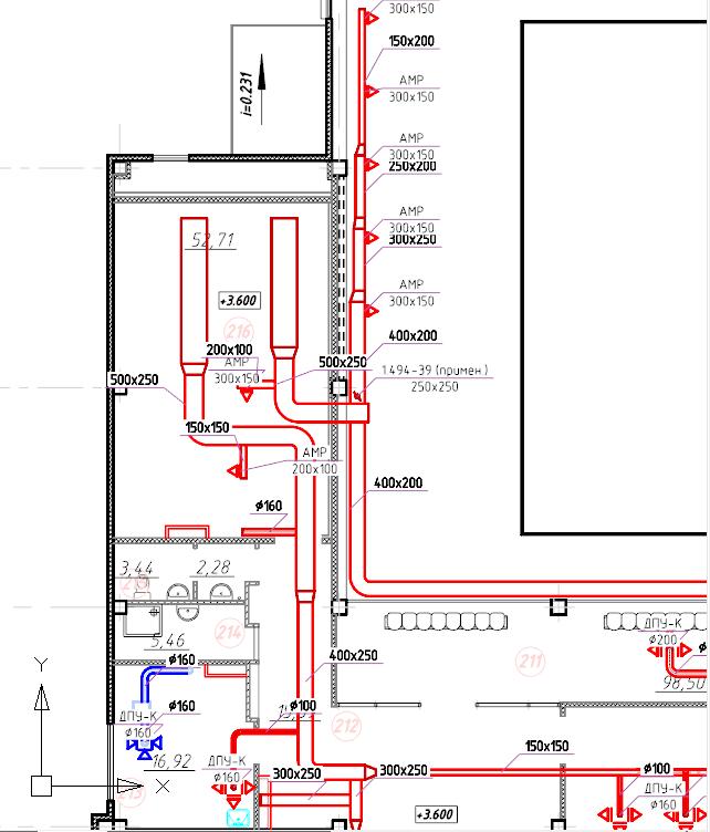 Рис. 3. Пример оформления вентиляции в программе nanoCAD СПДС