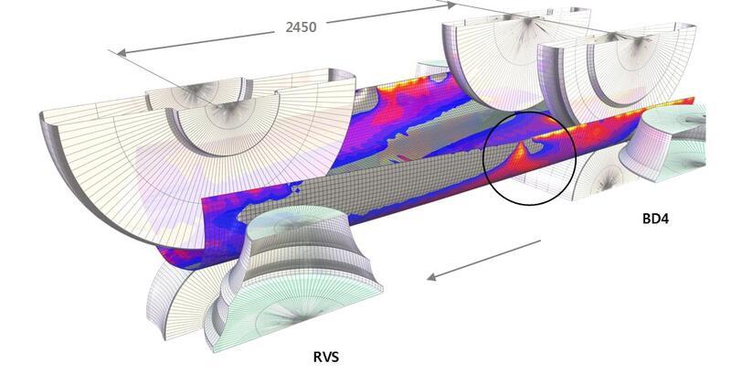 Рис. 5. Внешний вид перегибов кромки в межклетьевом промежутке BD4-RVS