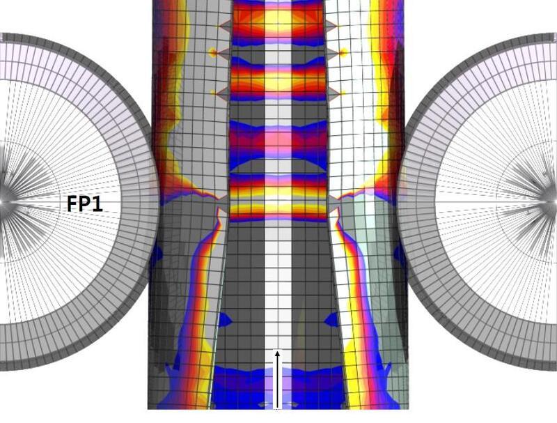 Рис. 9. Геометрия сетки после прохождения трубной заготовкой стана предварительной формовки FFX