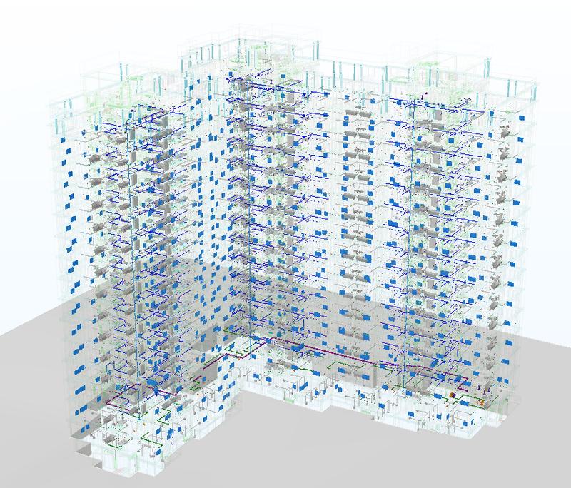 Рис. 2. Воссозданная по 2D-документации информационная (BIM) модель жилого здания в части инженерии: электрика, освещение, слабые токи, системы безопасности, отопление, водоснабжение и канализация