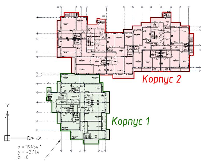 Рис. 3. Проект состоит из двух корпусов, а пересечение осей А1 расположено в координатах x = 19454.1, y = -271.4, z = 0