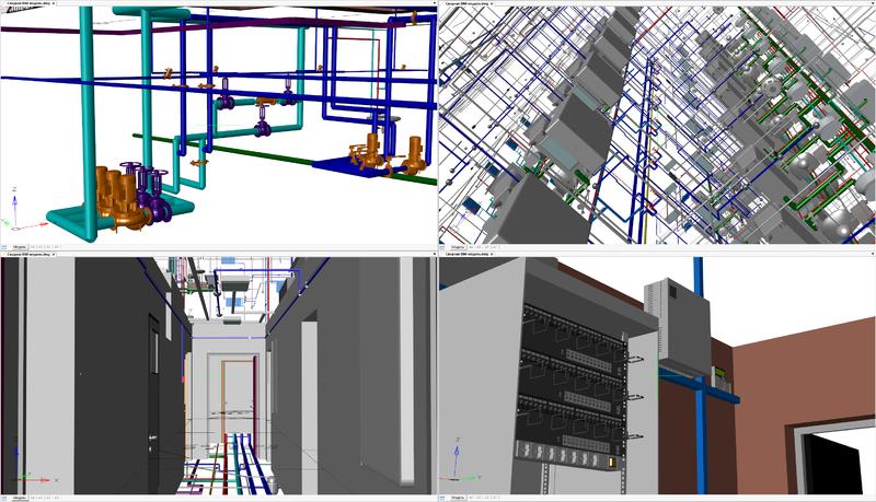 Рис. 11. Различные виды сводной BIM-модели в рабочем окне nanoCAD Plus 8.1