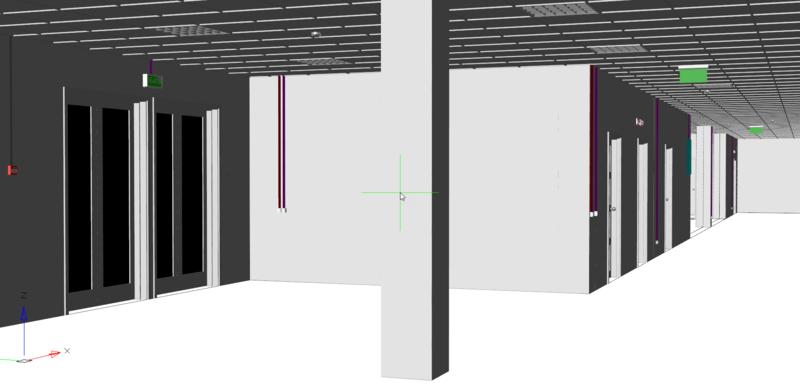 Рис. 11. 3D-вид модели с архитектурой и оборудованием освещения