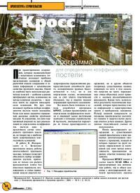 Журнал Кросс - программа для определения коэффициентов постели