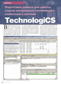 Журнал Подготовка данных для работы отдела материально-технического снабжения в системе TechnologiCS