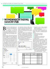 Журнал Возможности таблиц nanoCAD СПДС