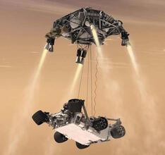 Рис. 2. Спуск марсохода при помощи летающей платформы Sky Crane