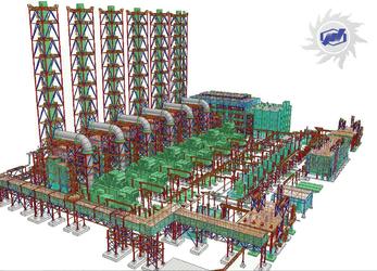 Рис. 1. 3D-модель газотурбинной установки – тепловой электростанции