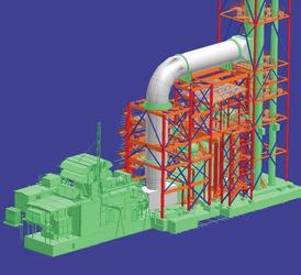 Рис. 2. Модели газовых турбин SGT&800 (Siemens) и котлов&утилизаторов (ОАО ЭнергоМашиностроительный Альянс)
